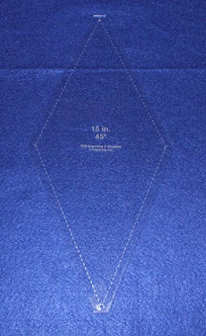 "Quilt Template -No Tip 45 Degree Diamond -15 Inch-1/8"" w/seam & guide holes"