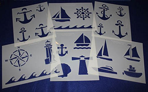 "6 Pieces of 14 Mil Mylar 8"" X 10"" Nautical Stencils- Painting /Crafts/ Templates"