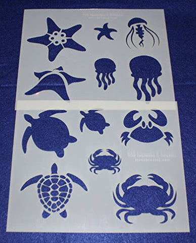 "Mylar 2 Pieces of 14 Mil 8"" X 10"" Sea Life Stencils- Painting /Crafts/ Templates"
