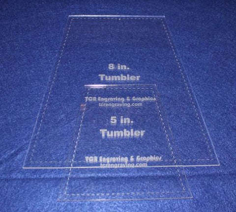 "5"" & 8"" Tumbler Set Quilt Template - With Seam Allowance -Clear 1/8"" Acrylic"