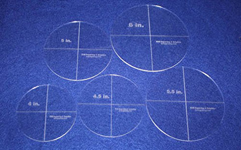 "5 Piece Circle Set 4"",4,5"", 5"", 5.5"", 6"" 1/8"" Acrylic - Quilting Templates"