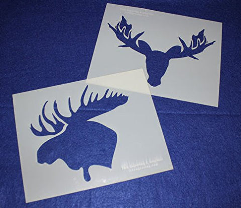 "Moose Head Stencils -Mylar 2 Pieces of 14 Mil 8"" X 10"" - Painting /Crafts/ Templates"