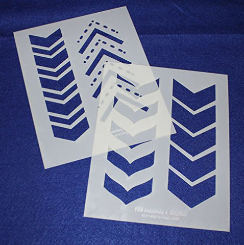 "Chevron Stencils 2 Piece Set - 14 Mil -8"" X 10"" - Painting /Crafts/ Templates"