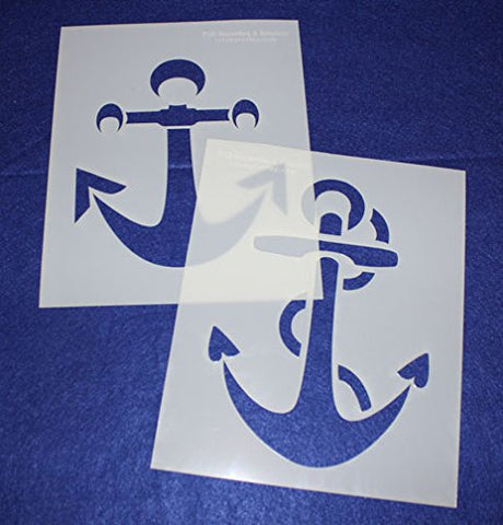 "Large Anchor Stencils 8"" X 10"" Mylar 2 Pieces of 14 Mil - Painting /Crafts/ Templates"