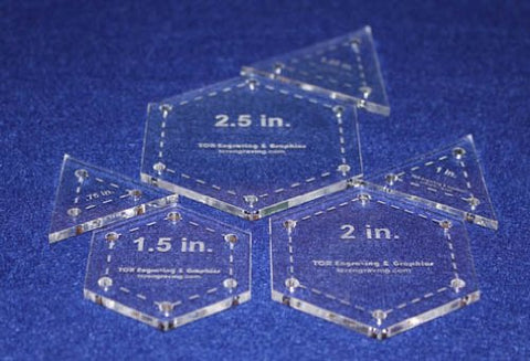6 Piece Set of Half Size Hexagons & Equilateral Triangles Templates 1/8""