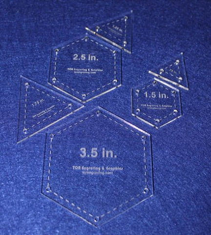 6 Piece Quilt Templates 1/2 Sizes Equilateral Triangles & Hexagon Set 1/8""