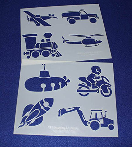 "Mylar 2 Pieces of 14 Mil 8"" X 10"" Children's Stencils- Painting /Crafts/ Templates"