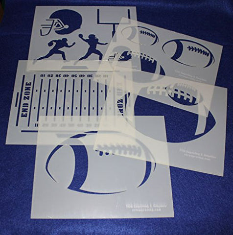 "Football Stencils Mylar 5 Pieces of 14 Mil 8"" X 10"" - Painting /Crafts/ Templates"