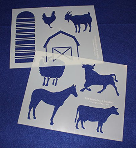 "Farming Stencils Mylar 2 Pieces of 14 Mil 8"" X 10"" - Painting /Crafts/ Templates"