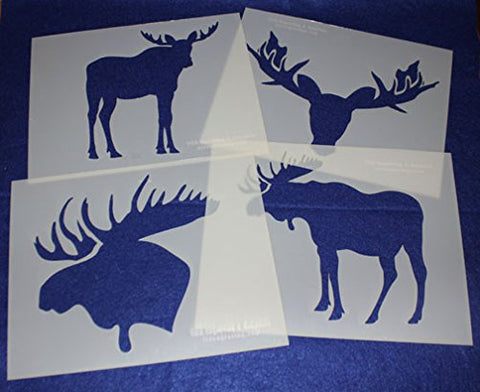 "Moose Stencils -Mylar 4 Pieces of 14 Mil 8"" X 10"" - Painting /Crafts/ Templates"