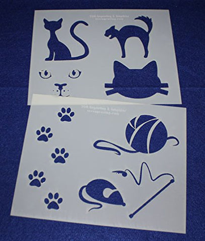 "Cat-Cat Toy Stencils Mylar 2 Pieces of 14 Mil 8"" X 10"" - Painting /Crafts/ Templates"