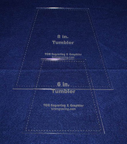 "6"" & 8"" Tumbler Set Quilt Template - With Seam Allowance -Clear 1/8"" Acrylic"