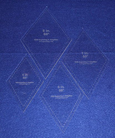 "Diamond Templates 5"", 6"", 7"", 8"" - Clear 1/8"" 60 Degree"