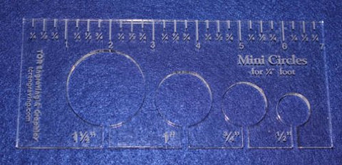 "4 Mini Circles Template for 1/4"" Foot Clear with Ruler 1/4"" Thick"