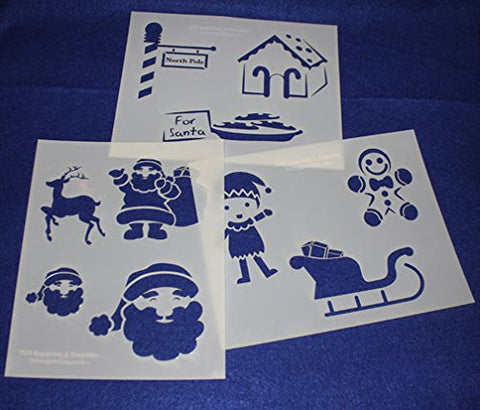 "Santa Claus Stencils 3 Pieces of 14 Mil Mylar 8"" X 10"" - Painting /Crafts/ Templates"