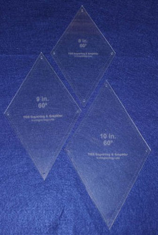 "Diamond Quilt Templates 8"", 9"", 10"""" - Clear 1/8"" 60 Degree W/guideline Holes"