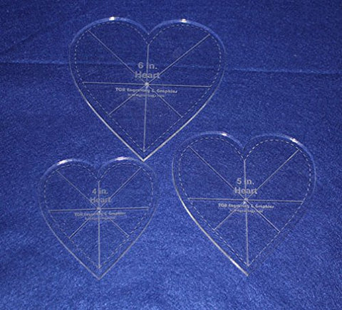 "Heart Template 3 Piece Set. 4"",5"",6"" - Clear 1/4"" Thick w/ guidelines & seam"