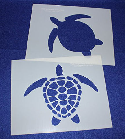 "Mylar 2 Pieces of 14 Mil 8"" X 10"" Large Turtle Stencils- Painting /Crafts/ Templates"