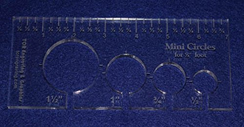 "4 Mini Circles Template for 1/4"" Foot - Clear with Ruler ~3/8"" Thick"