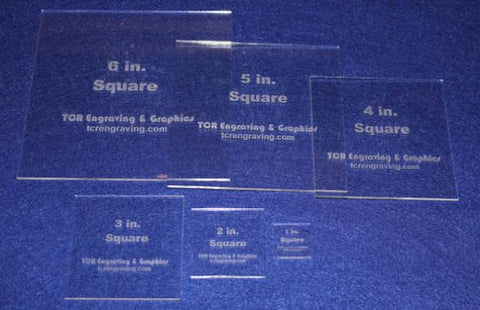 "Square Templates 6 Piece Set 1"" to 6"". - Clear 1/8"" No Seam - Actual Size"