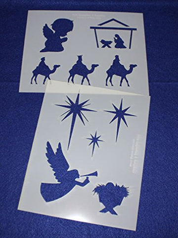 "Christian Christmas Mylar 2 Pieces of 14 Mil 8"" X 10"" - Painting /Crafts/ Templates"