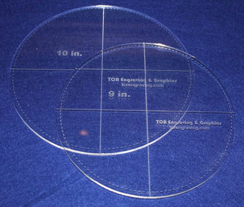 "Circle Template with Seam Allowance 2 Piece Set. 9"", 10"" - Clear ~1/4"" Thick"