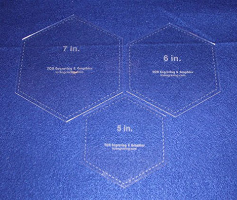 "Hexagon Templates. 5"", 6"", 7"" - Clear 1/8"""