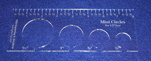 "4 Mini Circles Template for 1/2"" Foot Clear with Ruler 1/8"" Thick"