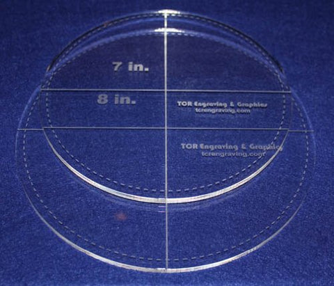 "Circle Template with Seam Allowance 2 Piece Set 7"",8"" - Clear ~1/4"" Thick"