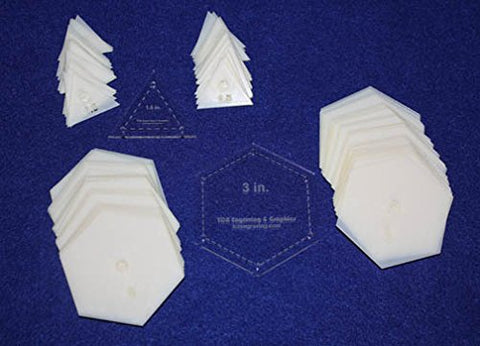 "Mylar 3"" Hexagon & 1.5"" Equilateral Triangle 102 Piece Set - Quilting / Sewing Templates"