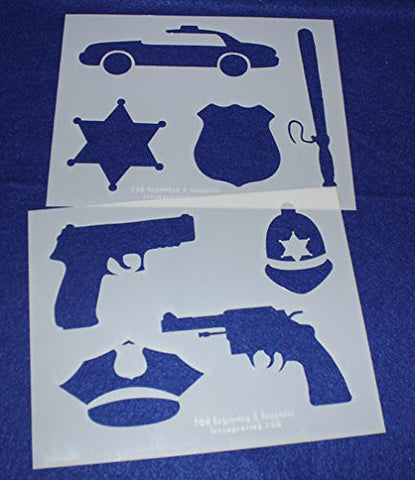 "Police Department Stencils -Mylar 2 Pieces of 14 Mil 8"" X 10""- Painting /Crafts/ Templates"