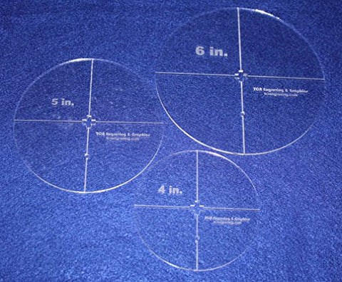 "Circle Template 3 Piece Set W/crosses and Guideline Hole. 4"", 5"", 6"" - Clear 1/8"" Thick"
