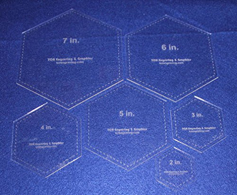 "Hexagon Templates. 2"", 3"", 4"", 5"", 6"", 7"" - Clear 1/8"""