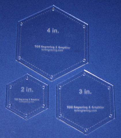 "Hexagon Templates. 2"", 3"", 4"" - Clear- With Guide Holes 1/8"""