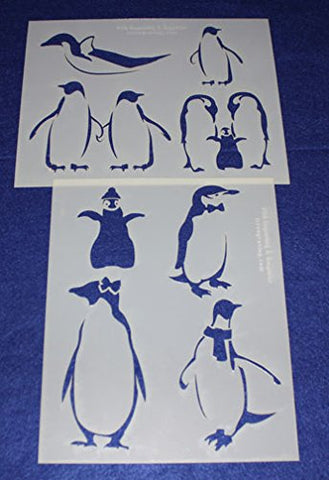 "Penguin Stencils Mylar 2 Pieces of 14 Mil 8"" X 10"" - Painting /Crafts/ Templates"