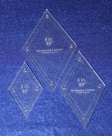 "Diamond Templates. 2"", 3"", 4"" - Clear 60 Degree W/guideline Holes 1/8"""