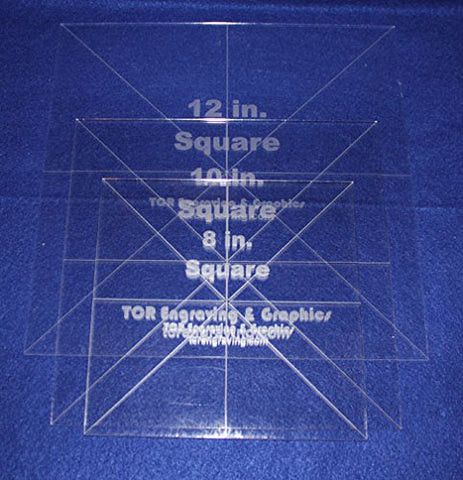 "3 Pc Square Set 8"",10"",12""- 1/8"" Clear Acrylic - Quilting Templates- No seam"