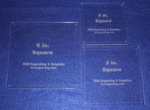 "Square Quilt Templates. 4"", 5"" 6"" . - Clear with Guideline Holes 1/8"""