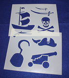 "Pirate Stencils -Mylar 2 Pieces of 14 Mil 8"" X 10"" - Painting /Crafts/ Templates"