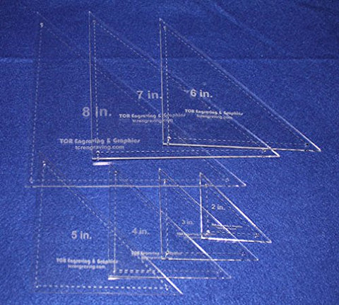 "Triangle Quilting Templates 7 Piece Set W/seam and Guideline Holes 2"", 3"", 4"", 5"", 6"", 7"", 8"" - Clear 1/8"""