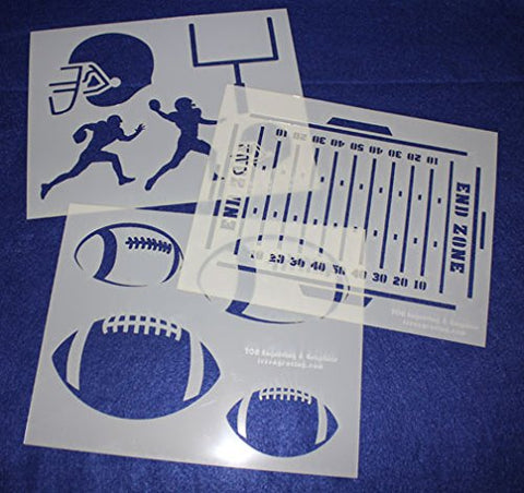 "Football Stencils Mylar 3 Pieces of 14 Mil 8"" X 10"" - Painting /Crafts/ Templates"