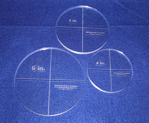 "Circle Template 3 Piece Set. 4"",5"", 6"" - Clear ~3/8"" Thick"