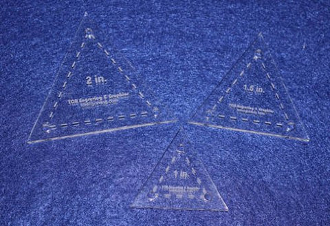 "3 Piece Quilt Templates Equilateral Triangles. 1"", 1 1/2"", 2"" - Clear- With Guide Holes 1/8"""