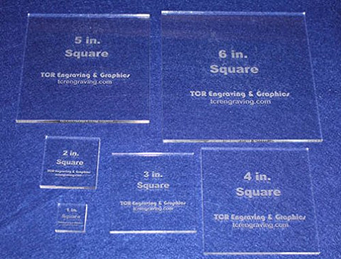 "Square Templates. 1"", 2"", 3"", 4"", 5"", 6"" - No Seam -Clear ~1/4"""