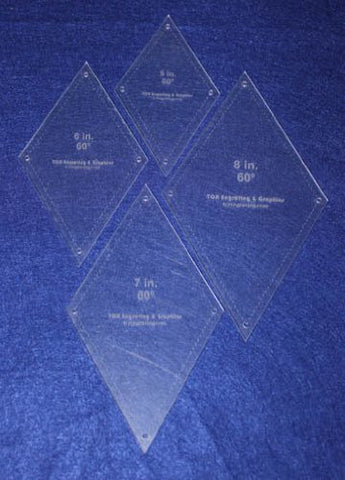 "Diamond Templates 5"", 6"", 7"", 8"" - Clear 1/8"" 60 Degree w/ Guideline Holes"