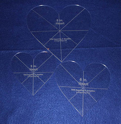 "Heart Template 3 Piece Set. 5"",6"", 8"" - Clear 1/8"" Thick w/ Guidelines"