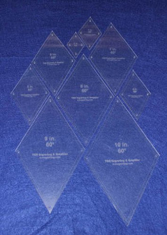 "Diamond Quilt Templates 2"" - 10"""" - Clear 1/8"" 60 Degree W/guideline Holes"