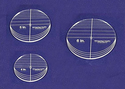 "3 Piece Circle Set - No Seam 4"",5"",6"" ~ 1/4"" Thick - Long Arm -Multi Use - Template"