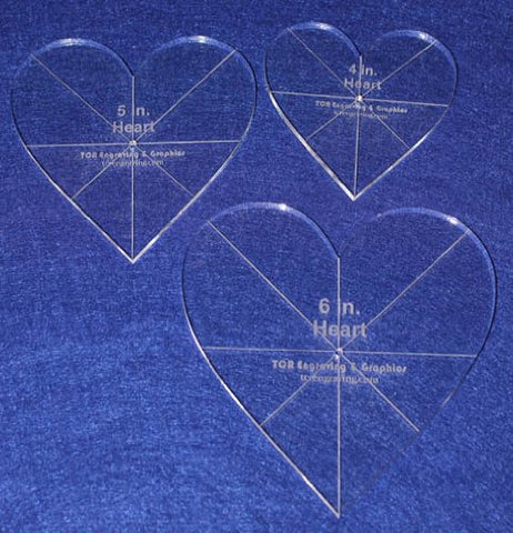 "Heart Template 3 Piece Set. 4"",5"",6"" - Clear 1/4"" Thick w/ guidelines"