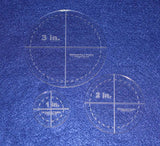 "Circle Template 3 Piece Set. 1"", 2"", 3"" w/seam - Clear 1/8"" Thick"